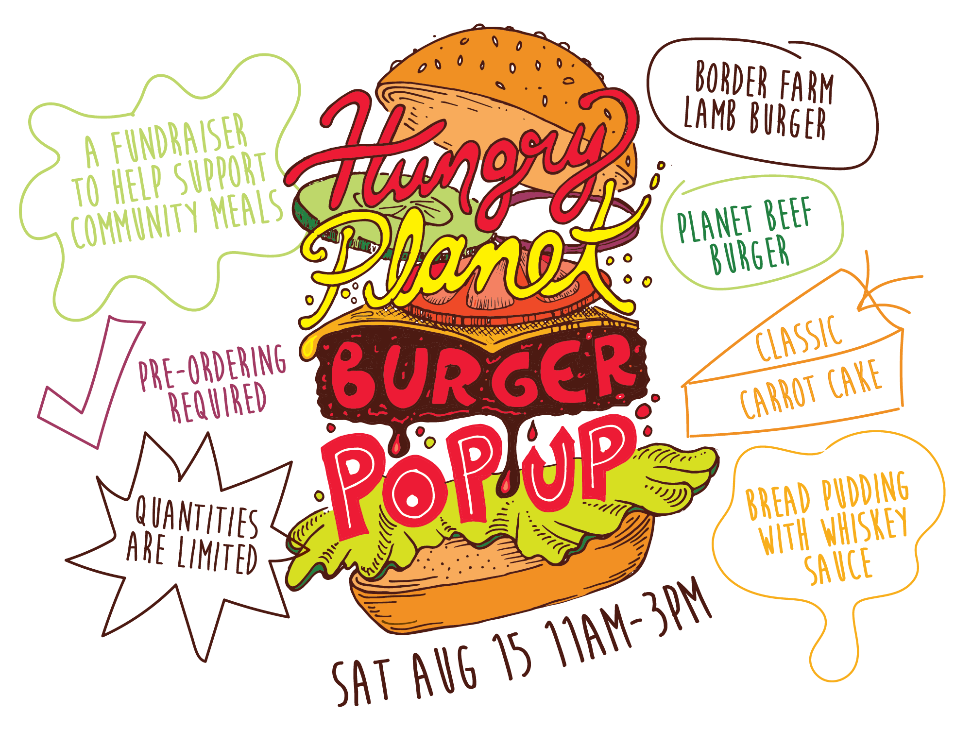 Burger Pop Up fundraiser for community meals August 15th