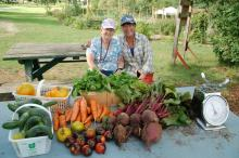Two gardeners and their harvest