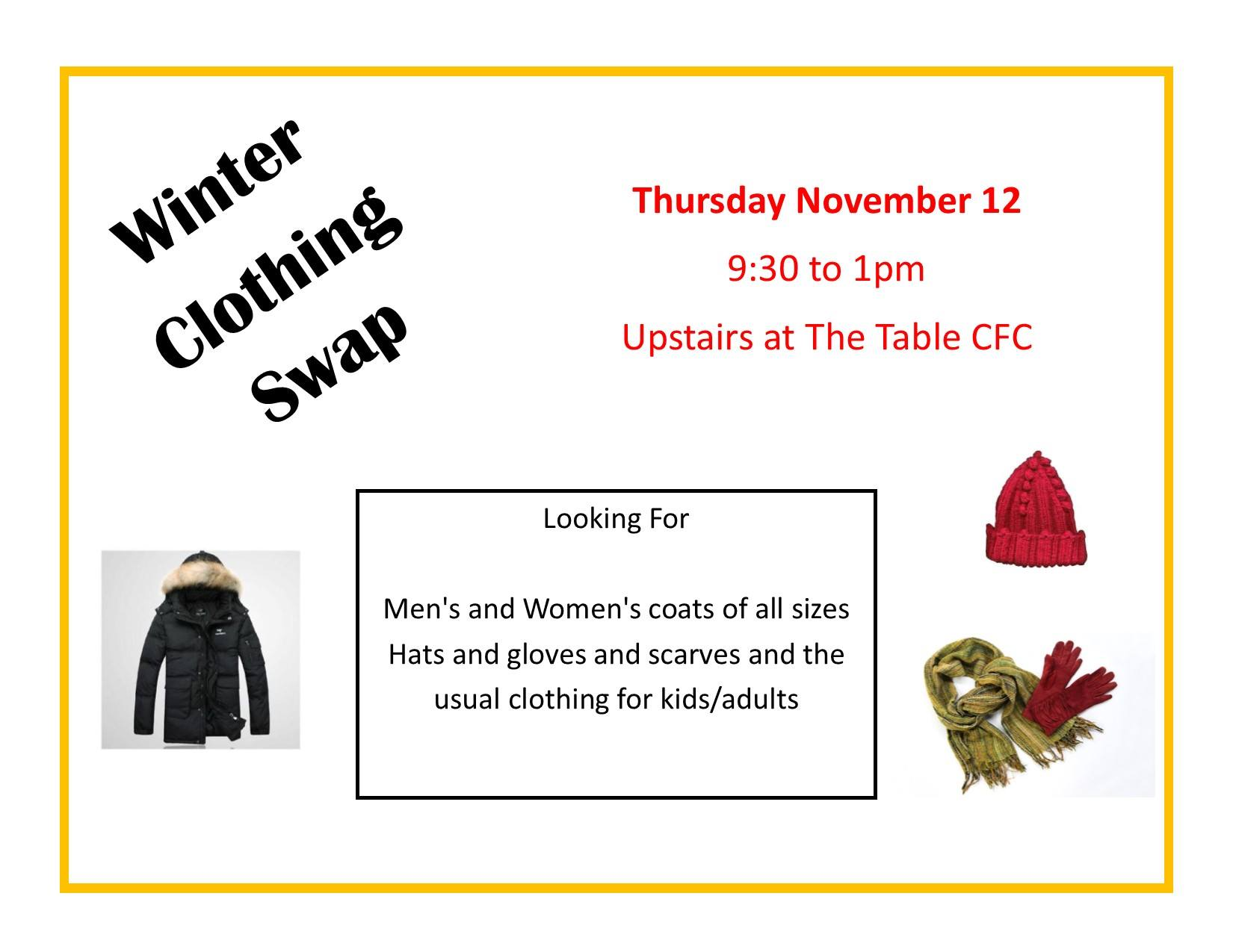 Winter Clothing Swap | The Table Community Food Centre